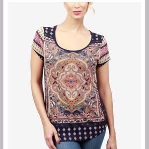 Lucky Brand Boho Navy Multi T Shirt